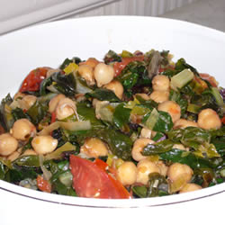 Swiss Chard with Garbanzo Beans and Fresh Tomatoes from All Recipes
