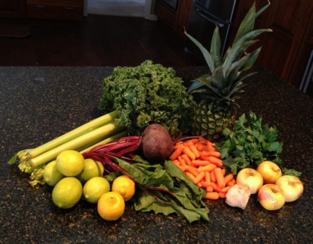 Juice pack: celery, kale, pineapple, parsley, apples, carrots, ginger, beet with greens, lemons and limes s, limes
