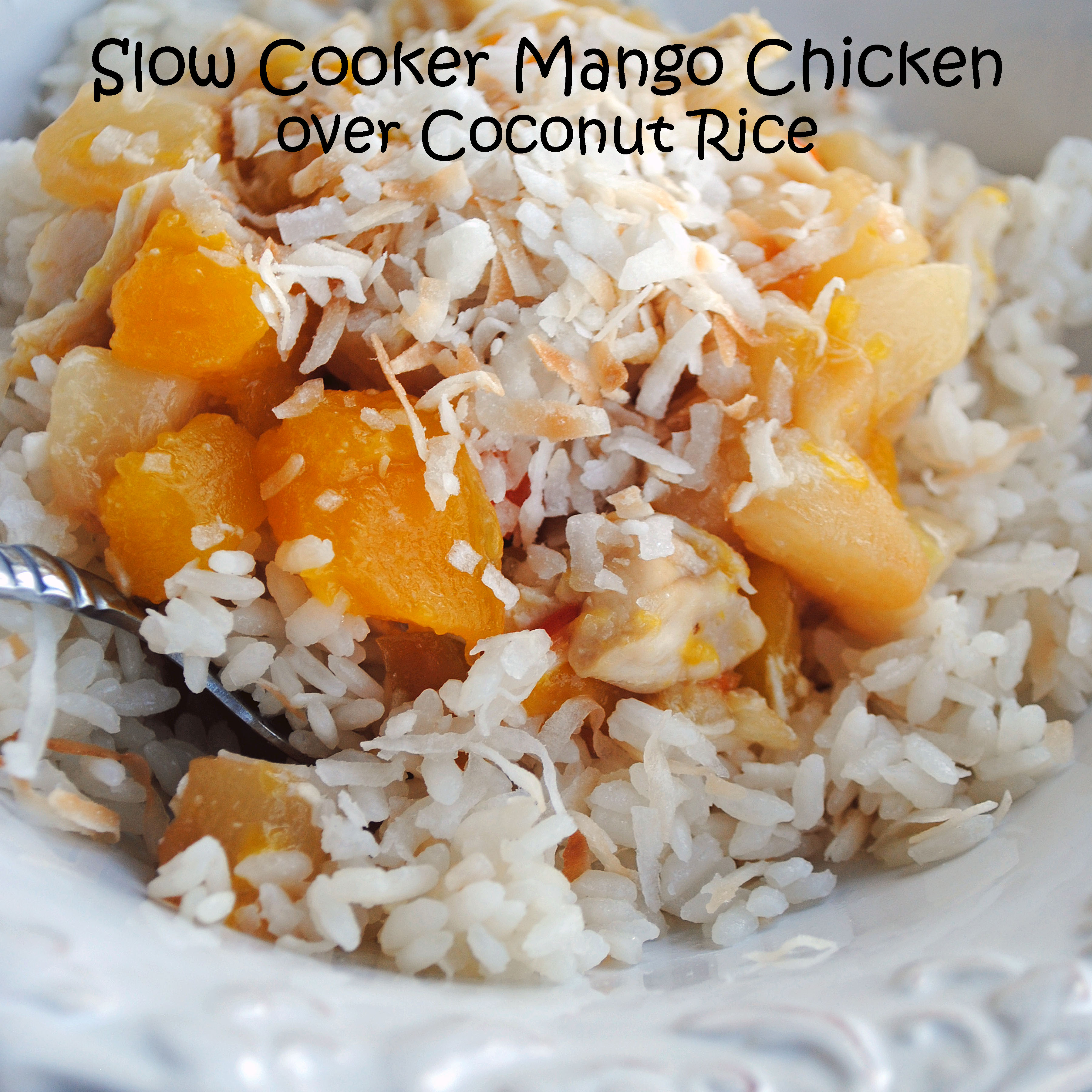 Mango Chicken over Coconut Rice