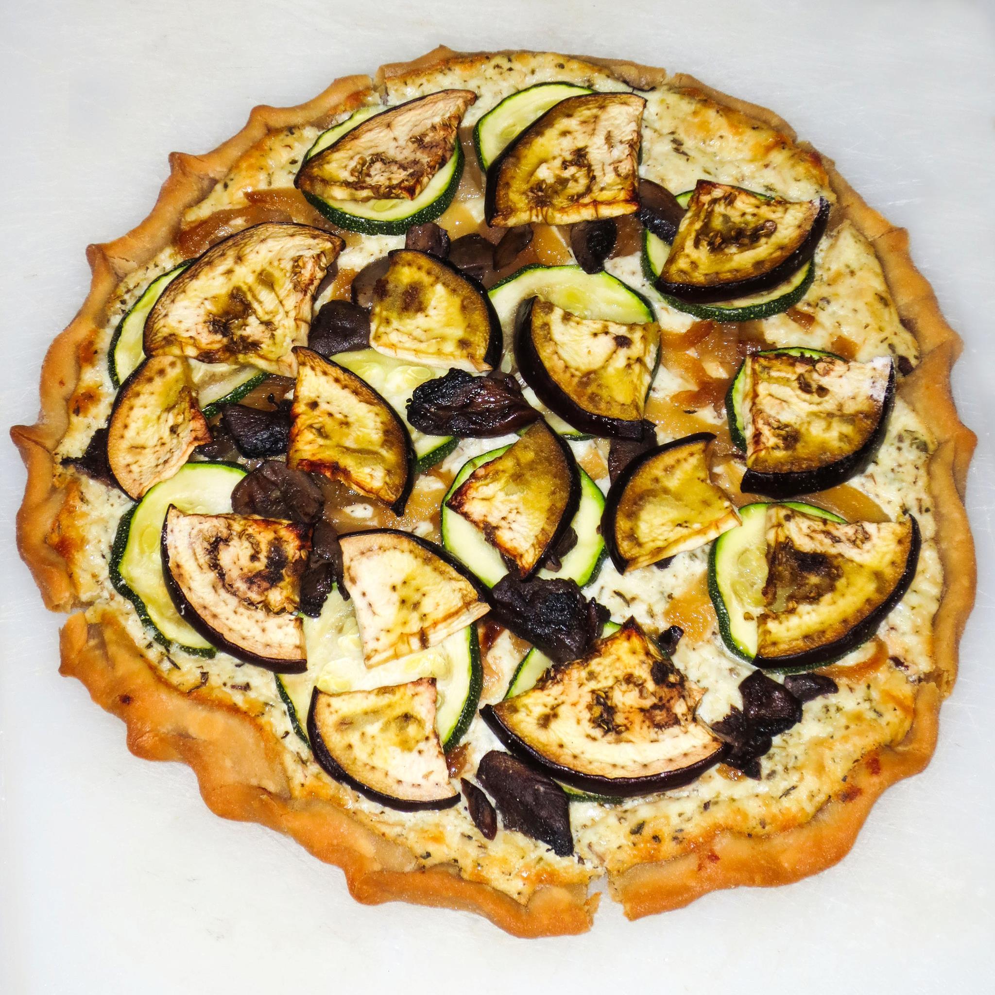 Eggplant, Portobello, Zucchini, Caramelized Onion Galette