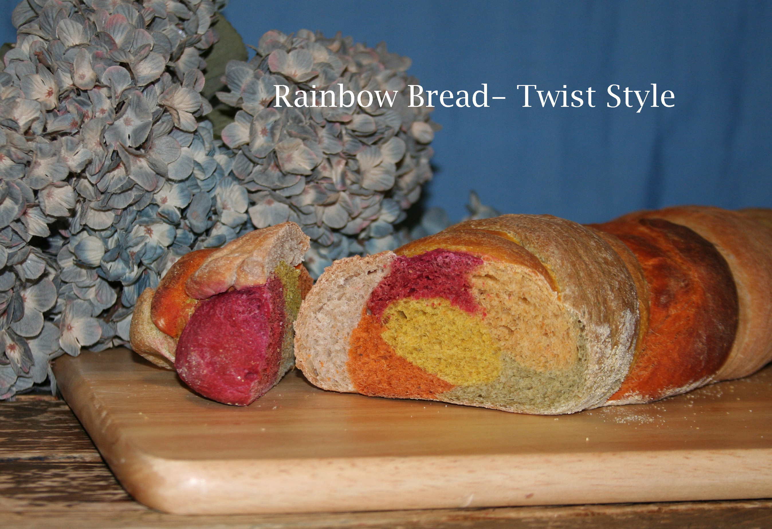Rainbow Bread (makes a very large batch- 8 to 10 standard loaves)