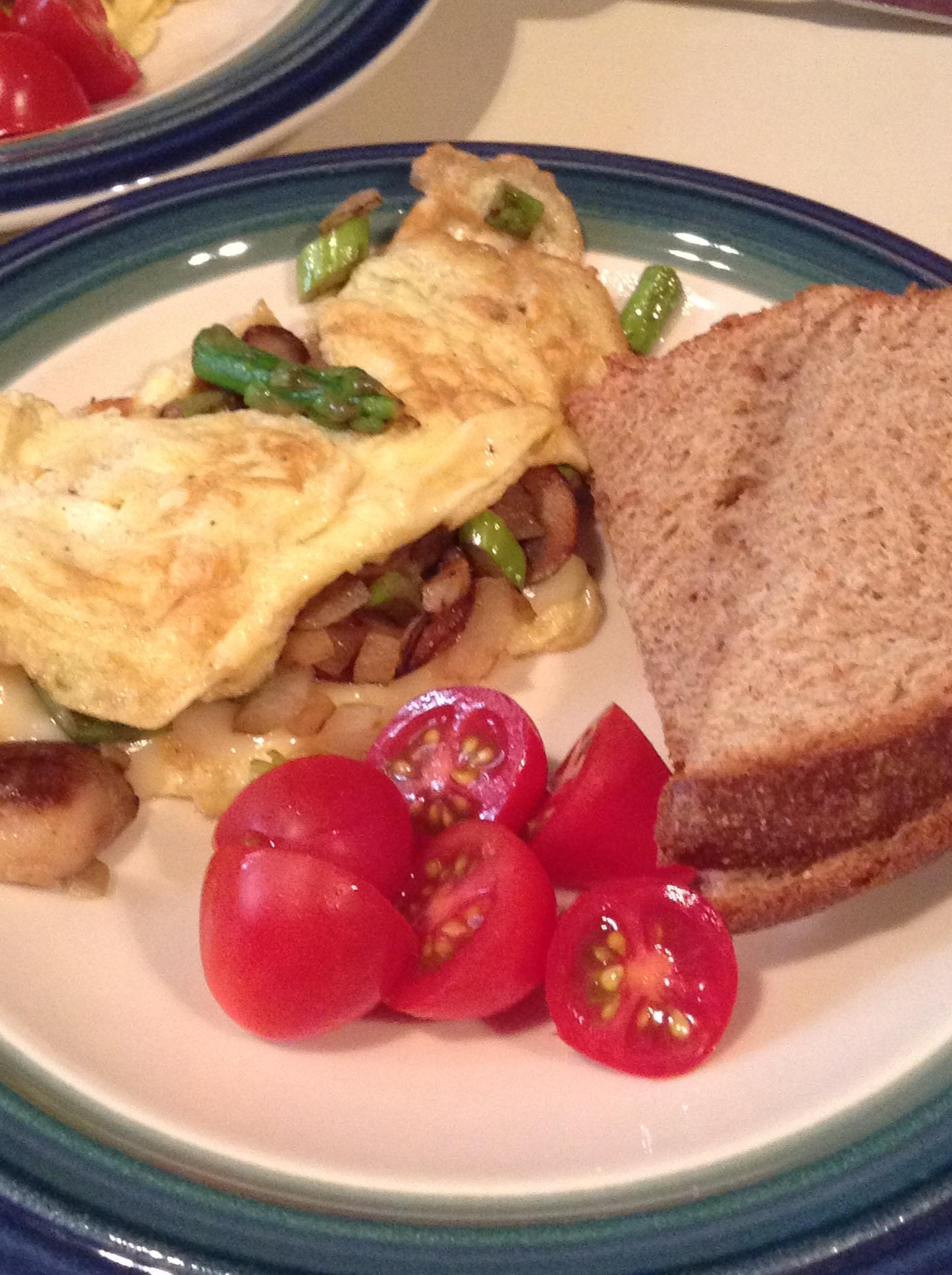 Asparagus and Mushroom Omelette