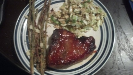 Honey Garlic Pork Chops with Cabbage Salad and Parmesan Crusted Asparagus