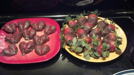 Chocolate Covered Strawberries & Strawberry Hearts